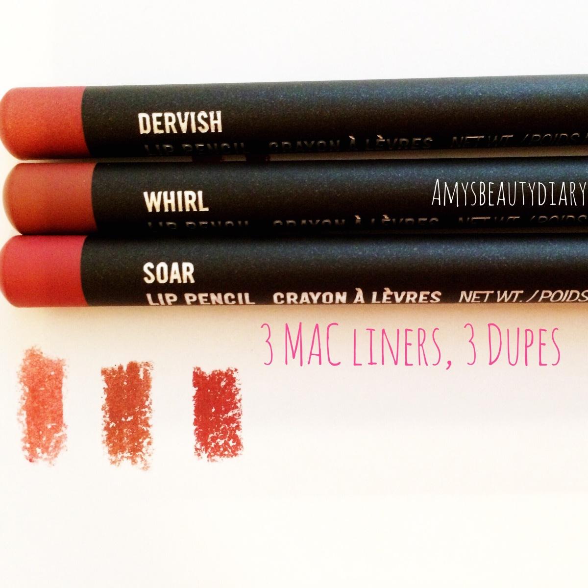 3 MAC Lip Liners, 3Dupes