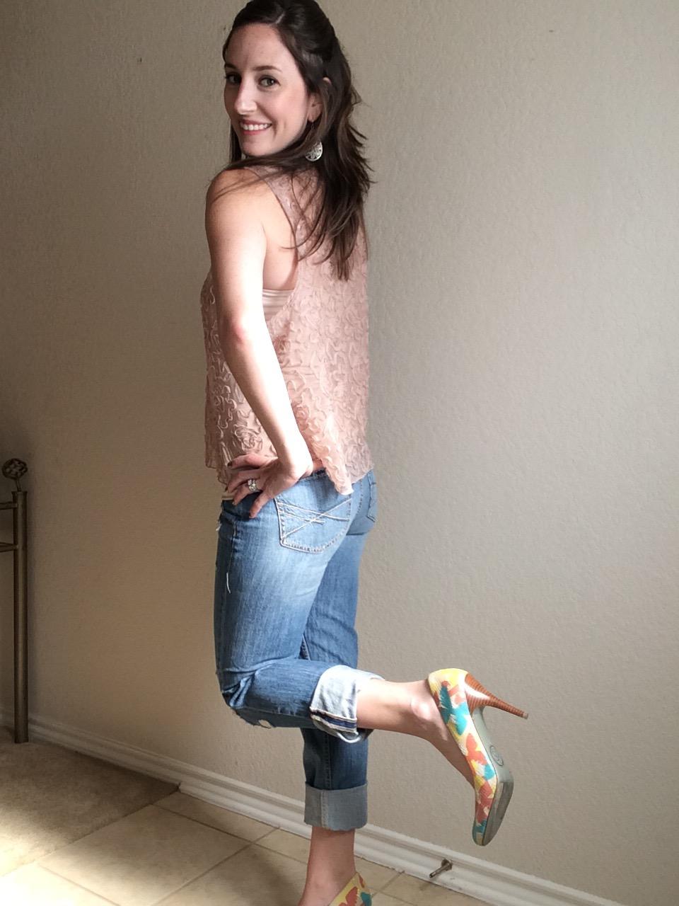 OOTD : Cropped BF Jeans+Heels