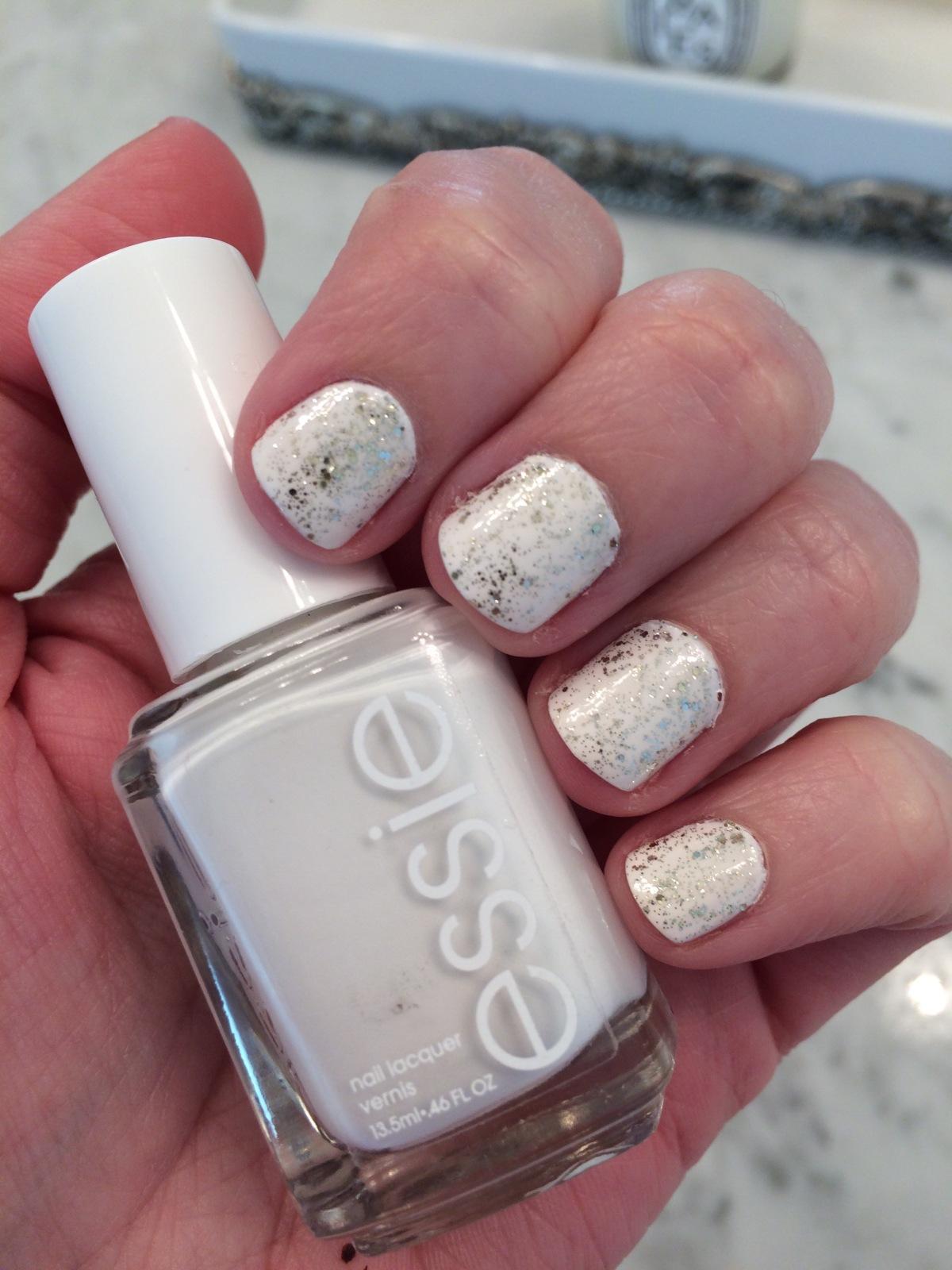 Sparkly White Nails